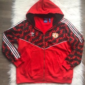 Adidas Manchester Red full zip hoodie size 2 XL